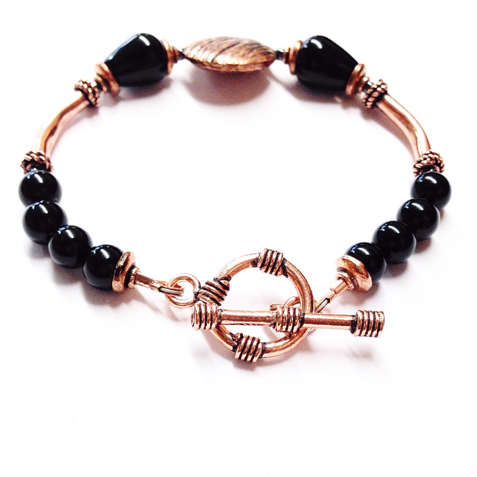 jewelry jewellery rope stone onyx bracelet copper black