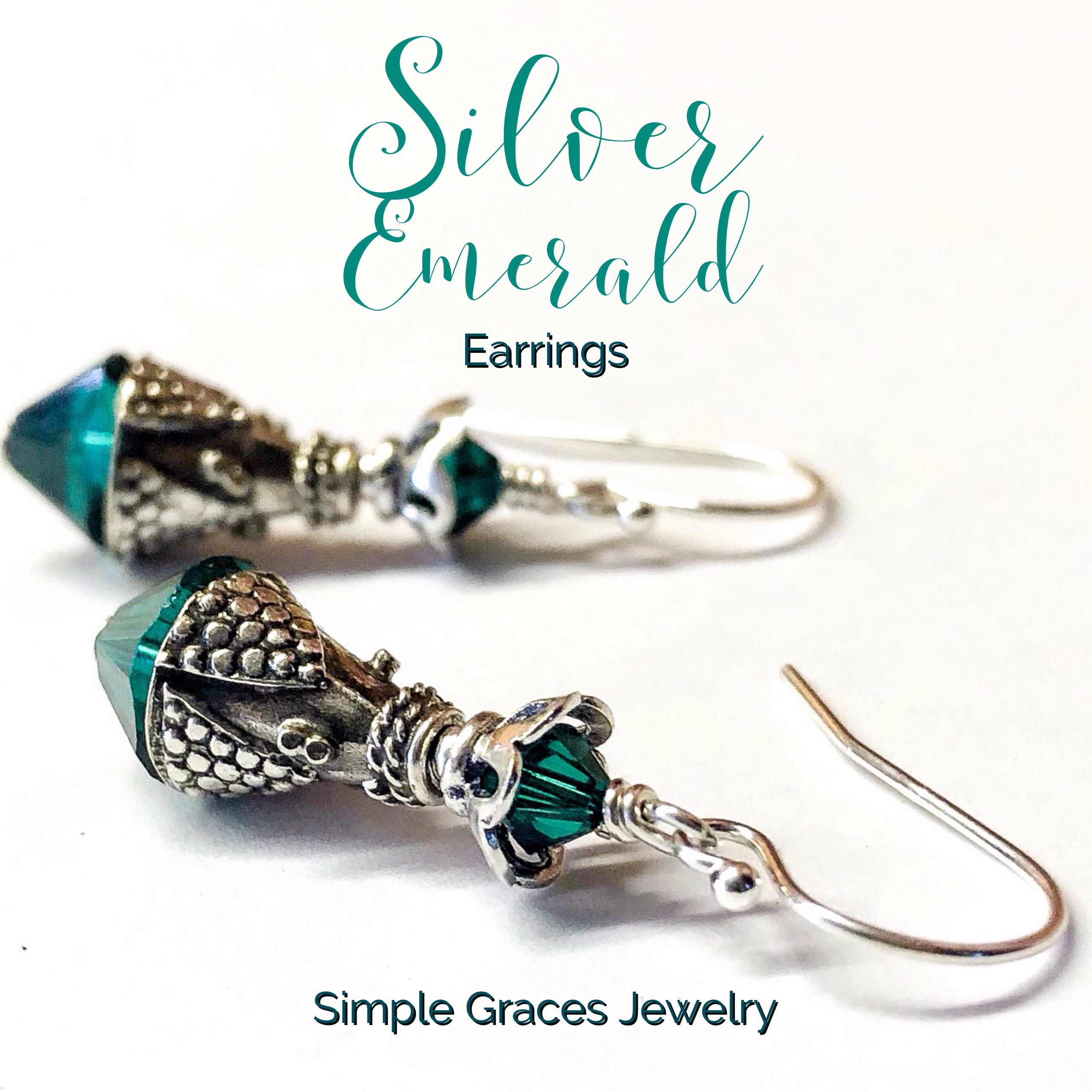 Silver Emerald Crystal Earrings