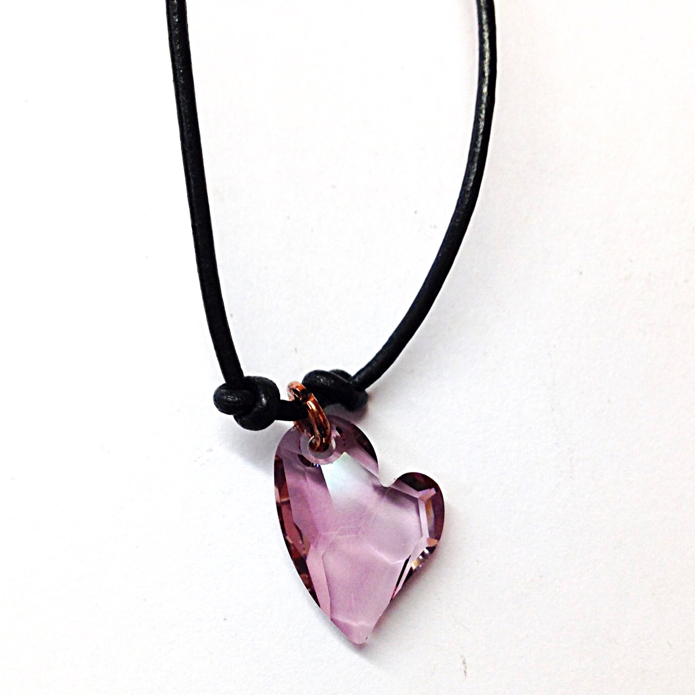 purple dark tradesy necklace pink heart i swarovski