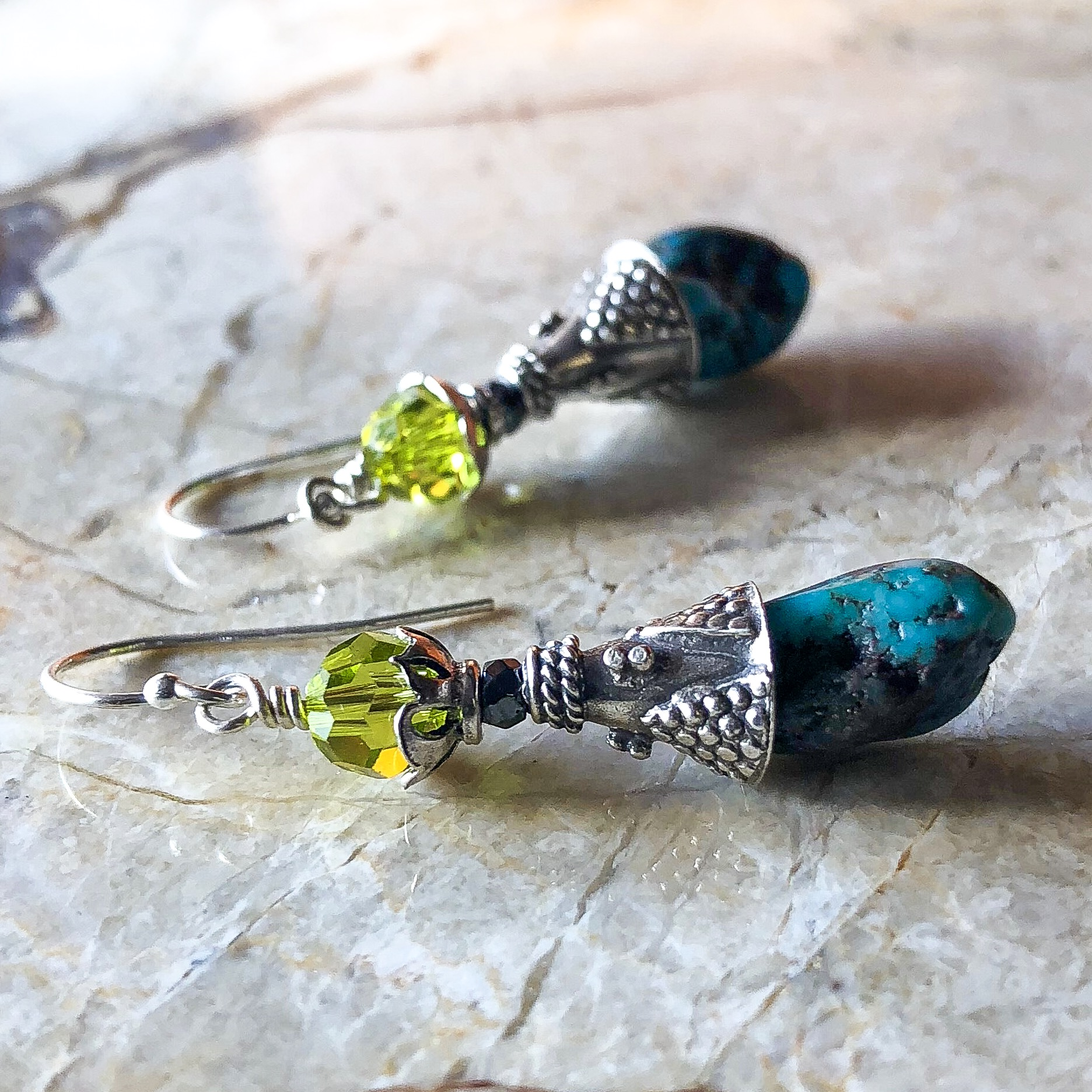 Turquoise And Olive Crystal Earrings