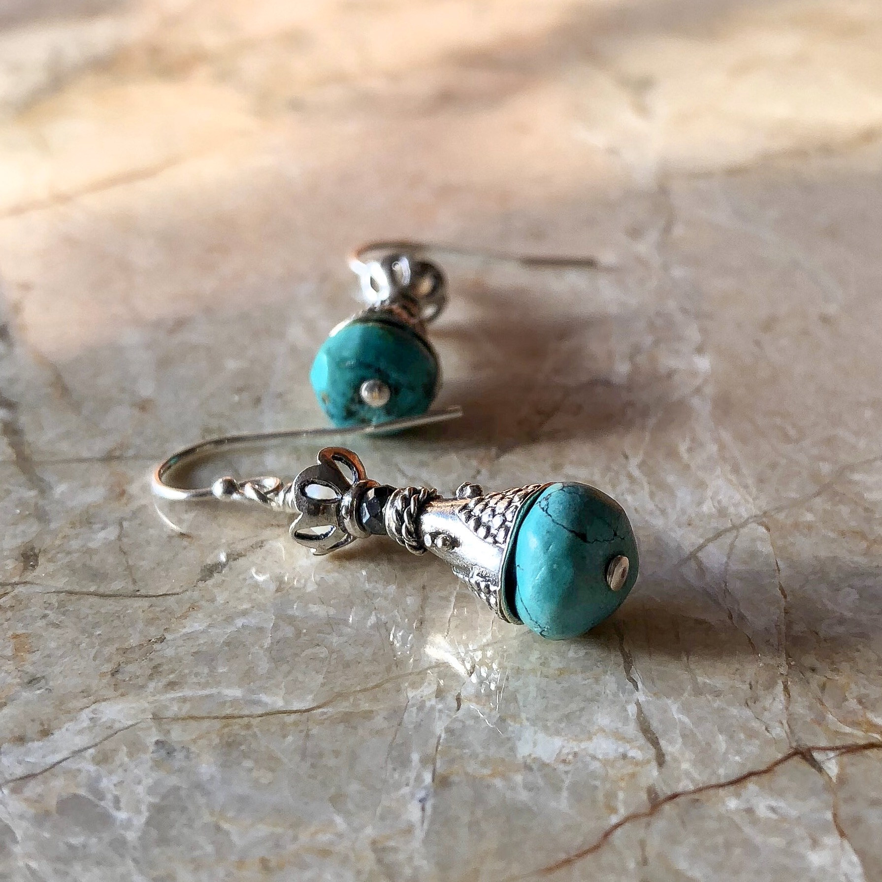 Unique Handmade Silver Pearl Turquoise Earrings