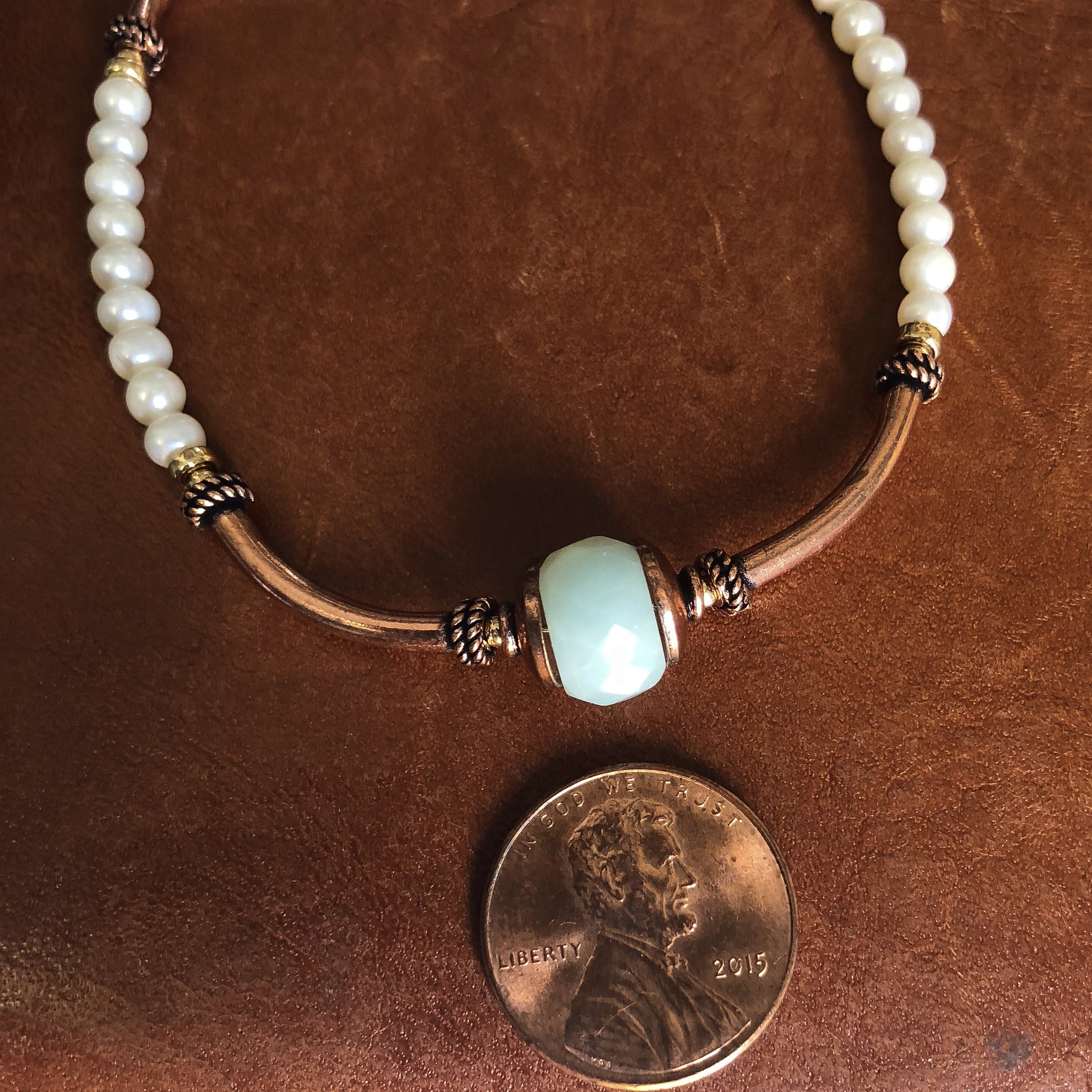 7 Year Anniversary Gifts For Women Copper Jewelry Bracelet White Pearls Blue Stone
