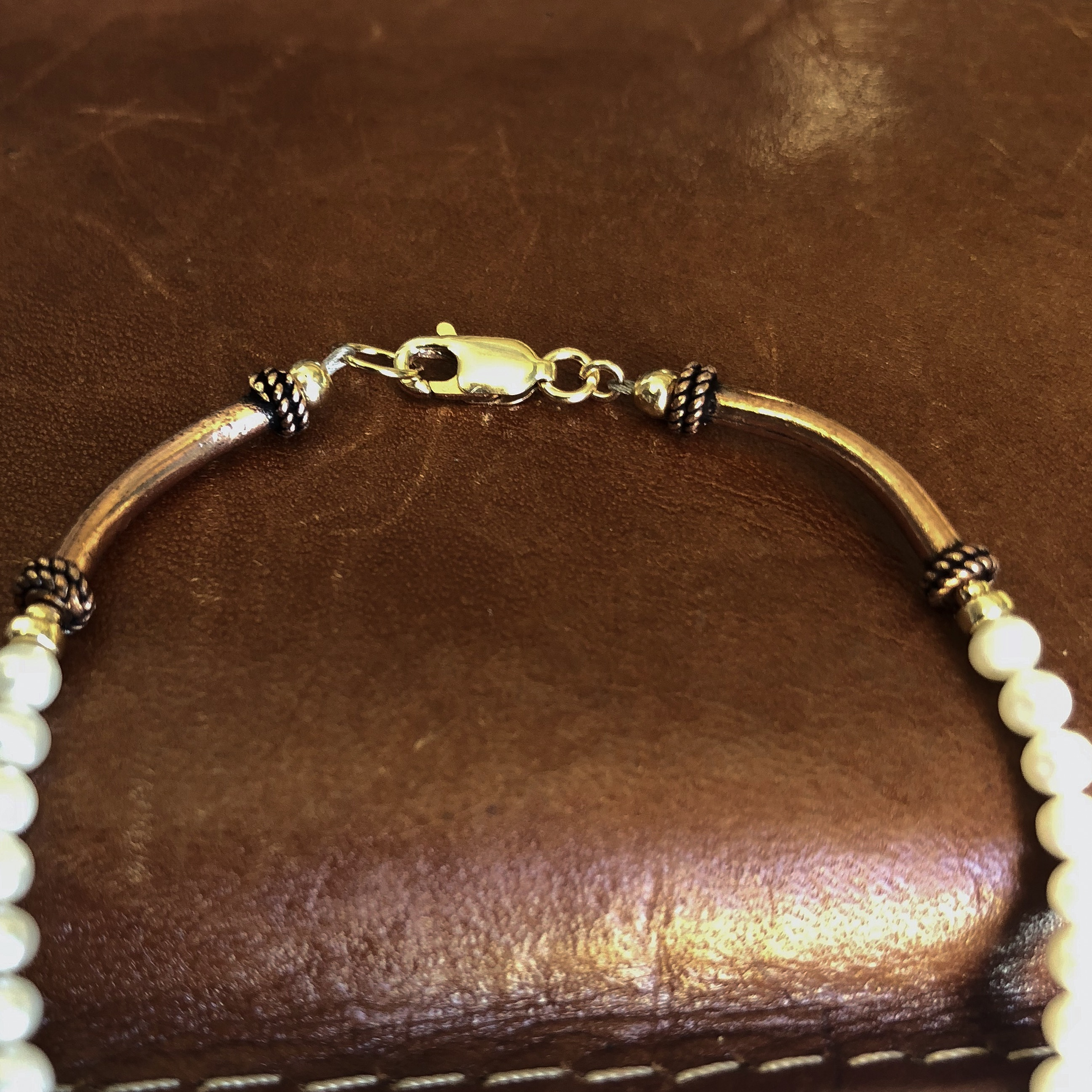 Unique Copper Bracelet White Pearl Jewelry 22nd Anniversary Gifts For Women