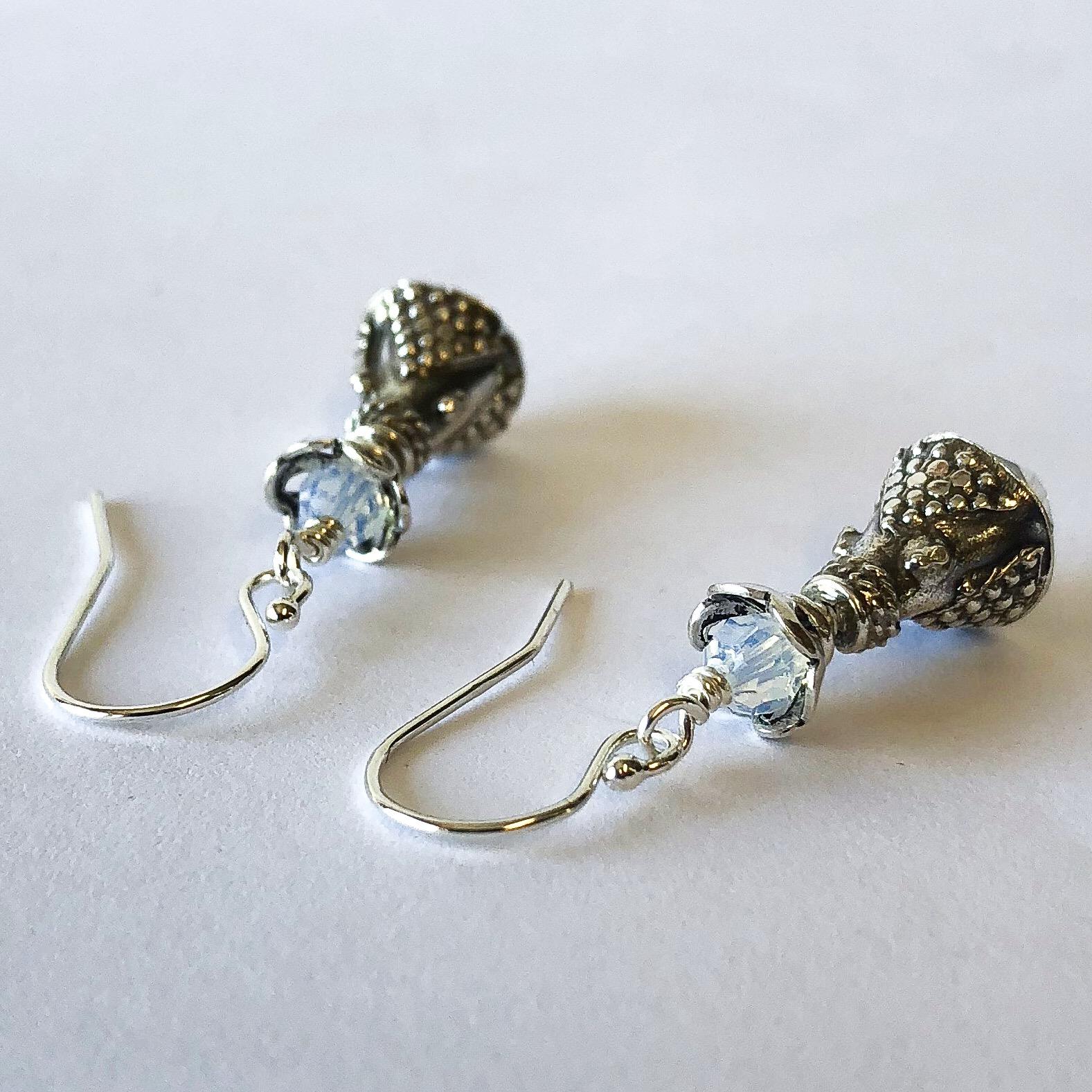 Silver Opal Crystal Earrings