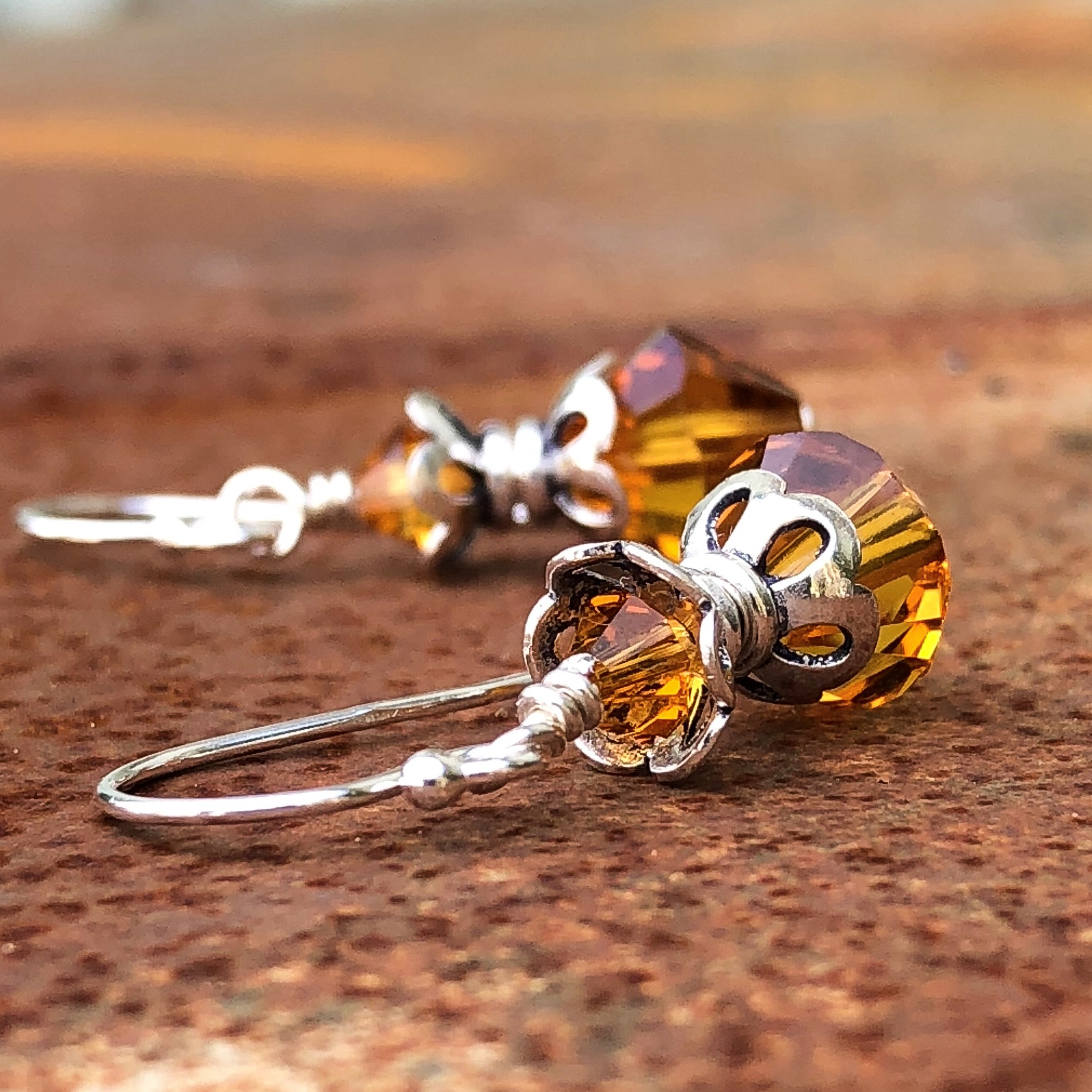 Topaz Petal Silver Crystal Earrings