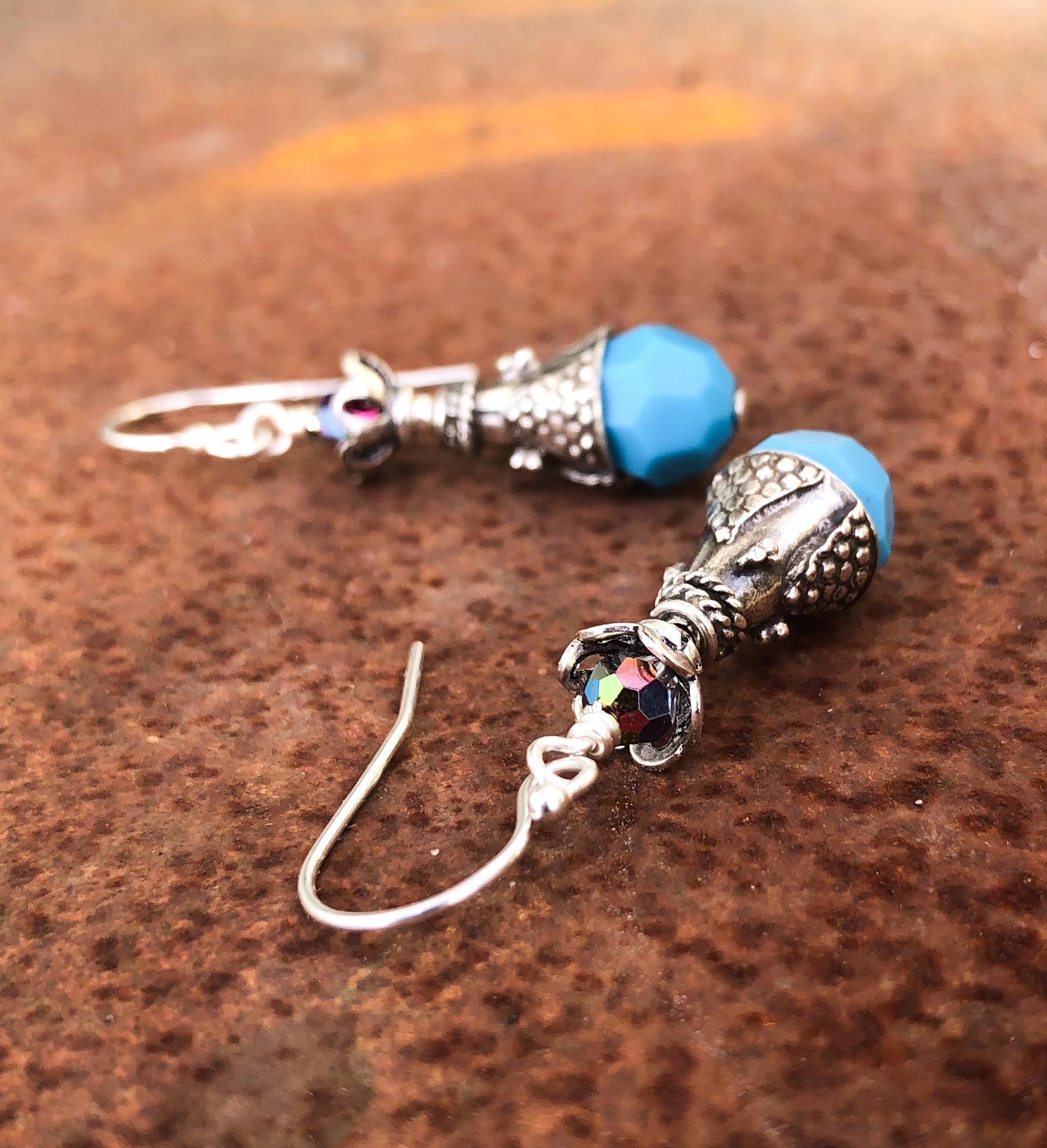 Silver Turquoise Crystal Earrings