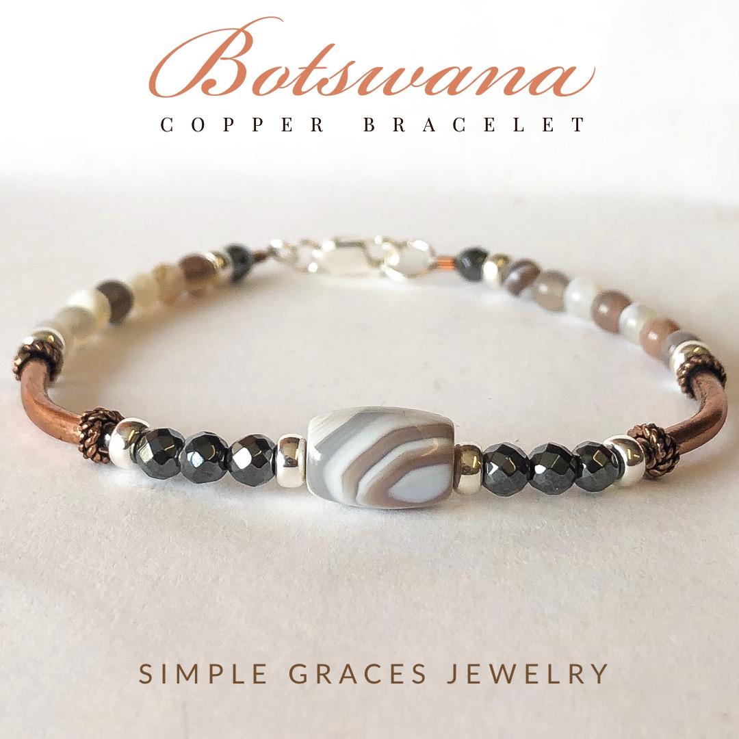 Botswana Agate Copper Bracelet